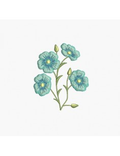 Instant download machine embroidery design  flax flower