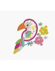 Motif de broderie machine perroquet