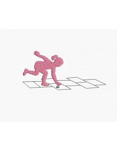 Instant download machine embroidery design girl playing hopscotch