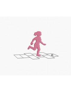 Motif de broderie machine petite fille jouant à la marelle