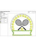 Instant download machine embroidery design tennis badge