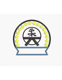 Instant download machine embroidery design judo badge