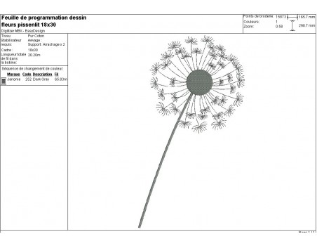 Motif de broderie machine fleur de pissenlit