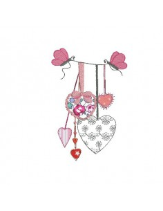 Instant download machine embroidery hearts butterfly