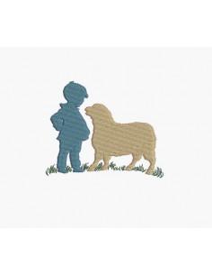 Motif de broderie machine garçon et le mouton