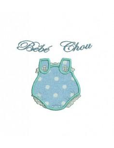 Instant download machine embroidery design applique baby romper