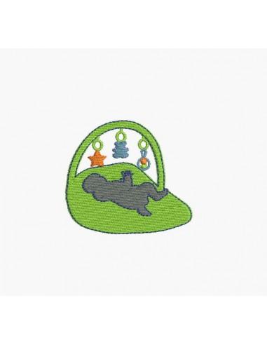 Motif de broderie machine bébé sur son tapis d'éveil