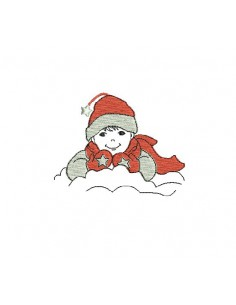 Motif de broderie machine garçon dans la neige