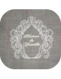 Instant download machine embroidery redwork frame Versailles