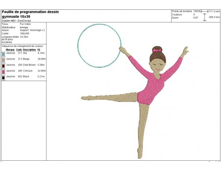 Motif de broderie machine gymnaste au cerceau