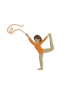 Motif de broderie machine gymnaste au ruban