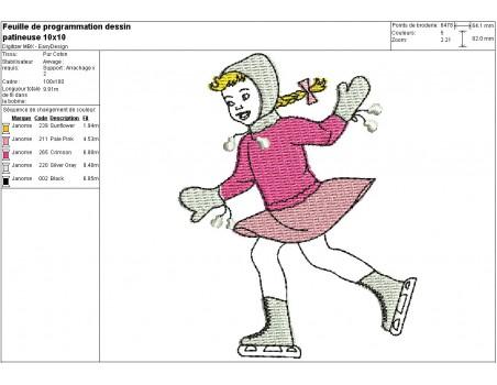 Instant download machine embroidery design boy Sledge