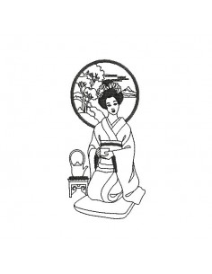 Motif de broderie machine femme  asiatique