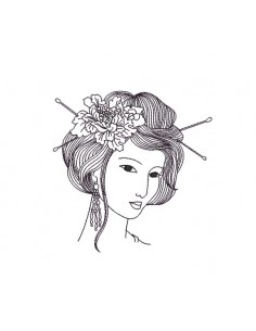 Instant download machine embroidery design Asian woman face