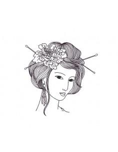 Motif de broderie machine visage femme asiatique