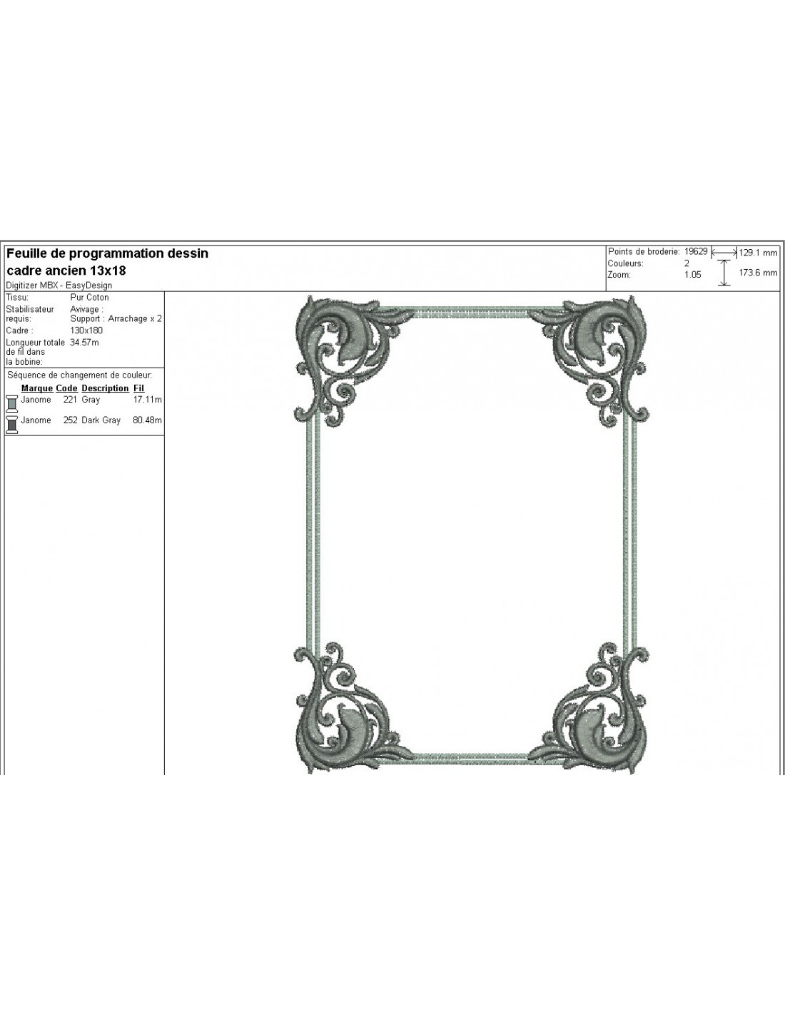 Instant Download Machine Embroidery Design Old Frame Alice