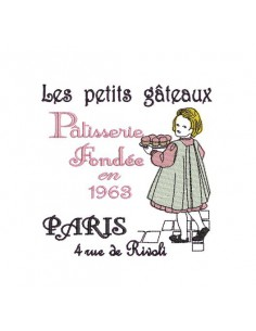 Instant download machine embroidery design vintage little girl with cake