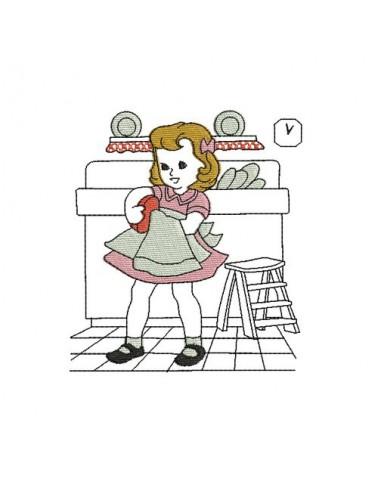 Motif de broderie machine fillette vintage faisant la vaiselle