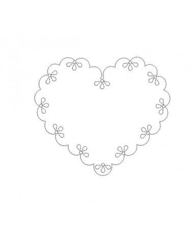 Instant download machine embroidery design applique scalloped heart