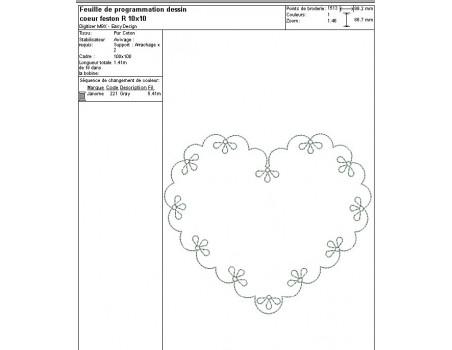 Instant download machine embroidery design applique scalloped heart
