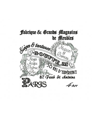 Instant download machine embroidery vintage advertising furniture stores Paris