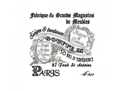 Motif de broderie machine plaque publicitaire Magasins de meubles Paris