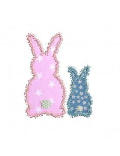 Motif de broderie machine appliqué petits lapins