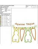 Motif de broderie machine appliqué  lapins et carottes