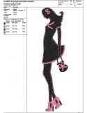 Motif de broderie machine silhouette femme girly