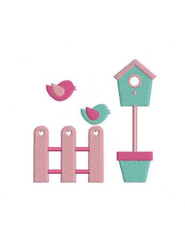 Motif de broderie machine  petit jardin