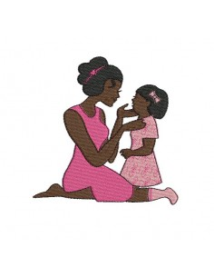 Instant download machine embroidery design  mother and girl