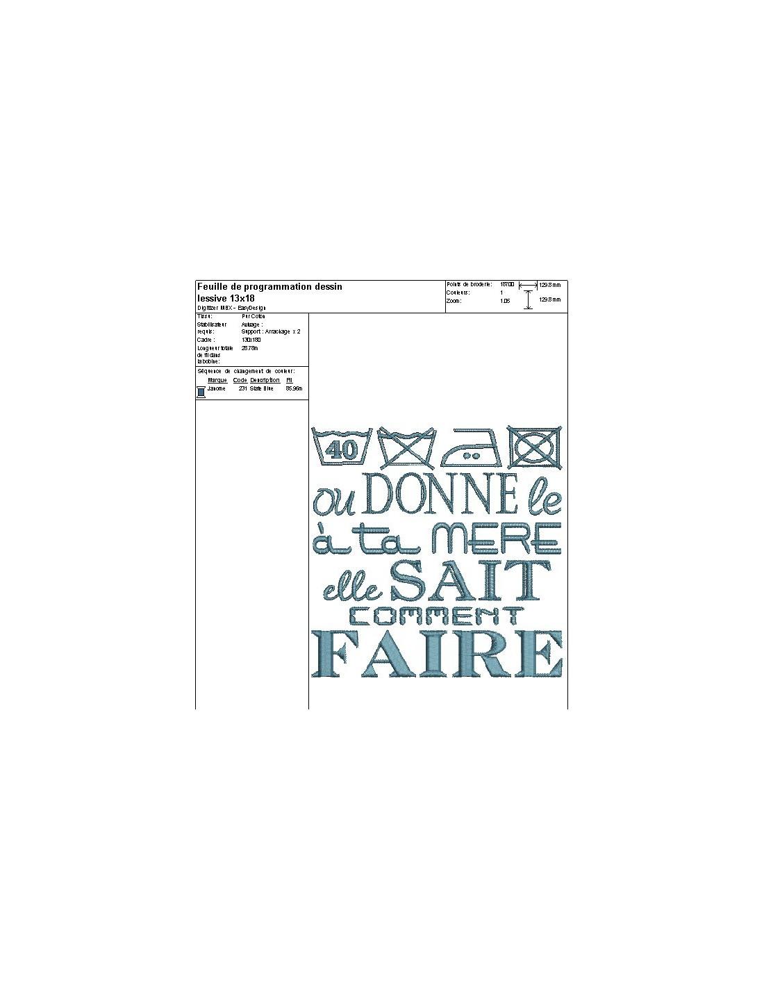 Motif De Broderie Machine Texte Humour Laver Le Linge