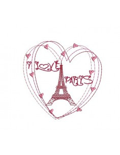 Motif de broderie machine  coeur Paris tour eiffel