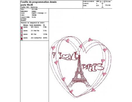 Motif de broderie machine  coeur Paris tour eiffel