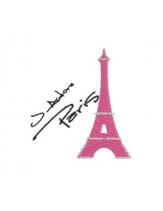 Motif de broderie machine J'Adore Paris tour eiffel