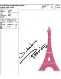 Instant download machine embroidery Paris with heart  Eiffel Tower