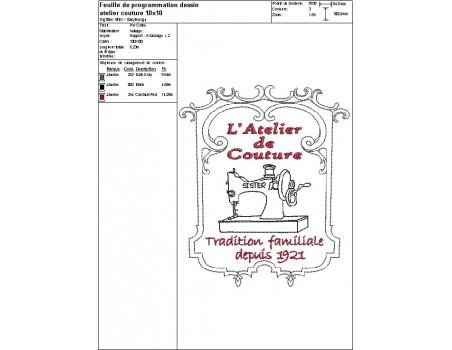 Motif de broderie machine atelier couture