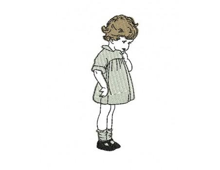 Instant download machine embroidery design vintage little girl