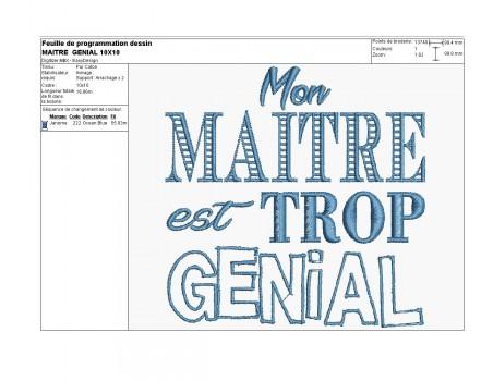 Instant download machine embroidery design teacher