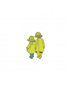 Motif de broderie machine enfants vintage  en ciré jaune