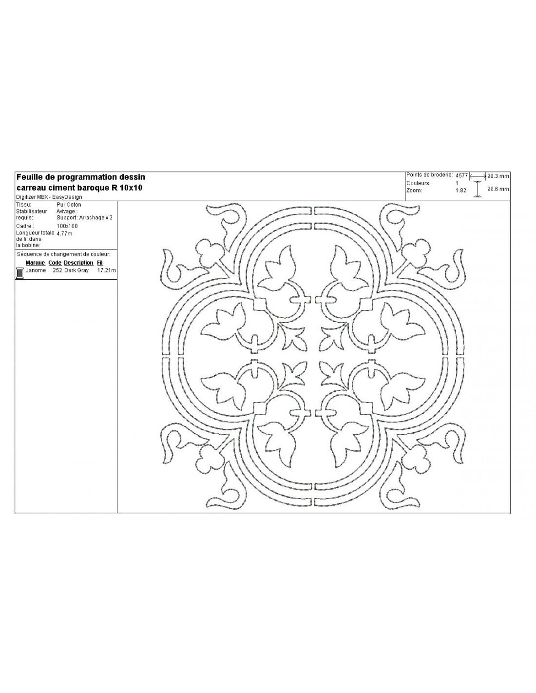 Motif De Broderie Machine Carreau De Ciment Baroque En