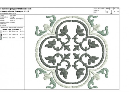 Instant download machine embroidery design Cement tile