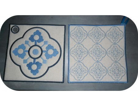 Instant download machine embroidery design Vintage Cement tile