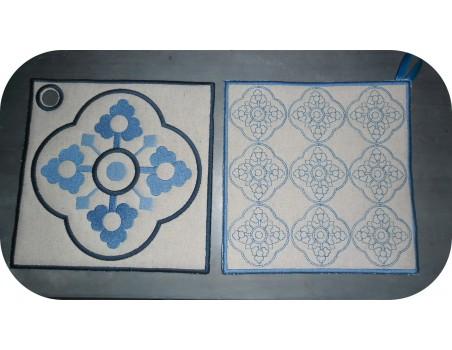 embroidery design  vintage cement tile