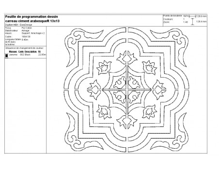 Instant download machine embroidery design arabeque Cement tile embroidery redwork