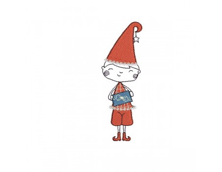 Instant download machine embroidery Christmas elf