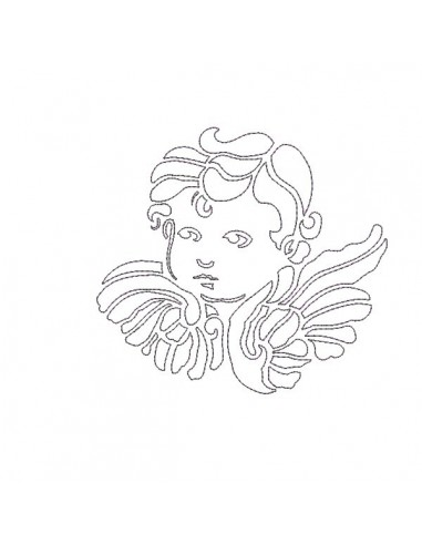 Motif de broderie visage d'ange en redwork