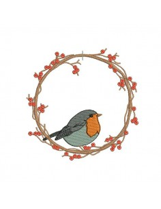 Instant download machine embroidery frame bird