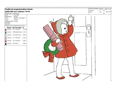 Instant download machine embroidery design vintage Little girl of christmas