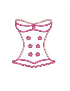 Motif de broderie machine lingerie bustier fleurs appliqué